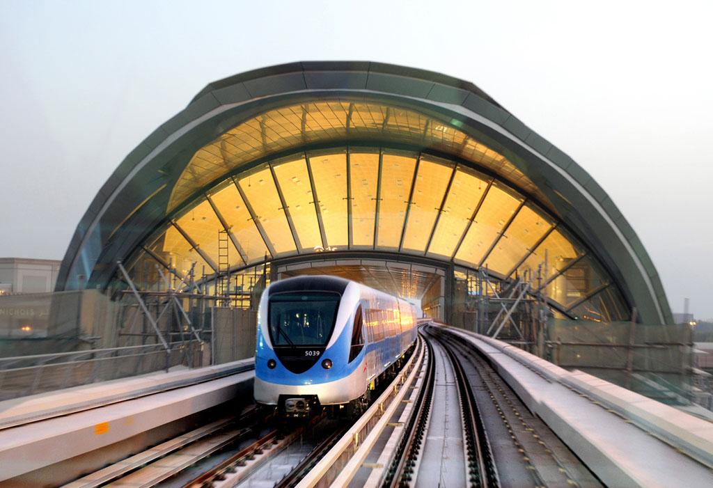 Dubai Metro arriving at metro station