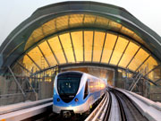 Dubai Metro arriving at metro station